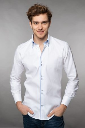 Double collar shirt Oxford white