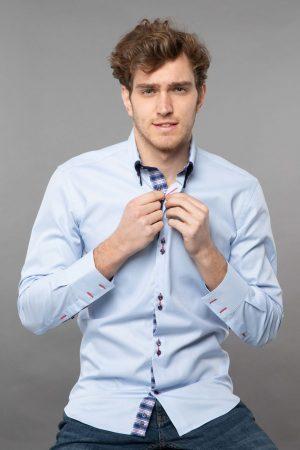 double collar shirt light blue twill