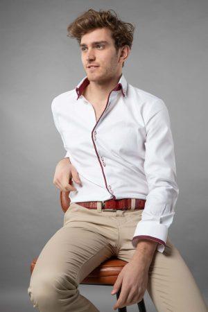 Double collar shirt white oxford