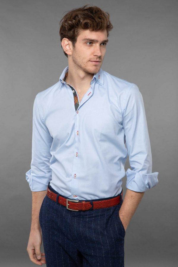 double collar shirt light blue oxford