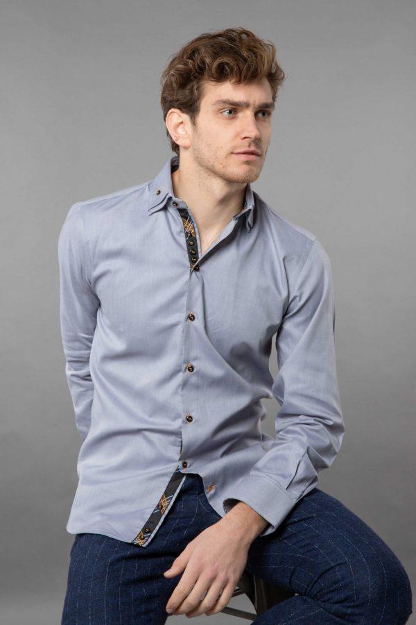 double collar shirt grey oxford