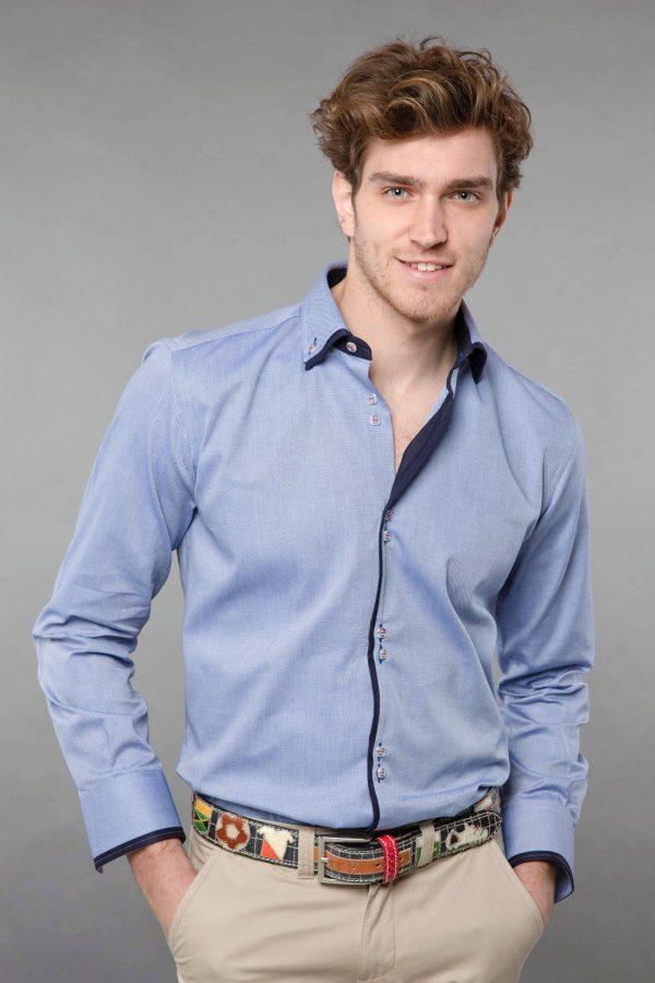 Double collar shirt blue Oxford