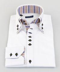 Double Collar Shirt White Twill Vittorio Marchesi