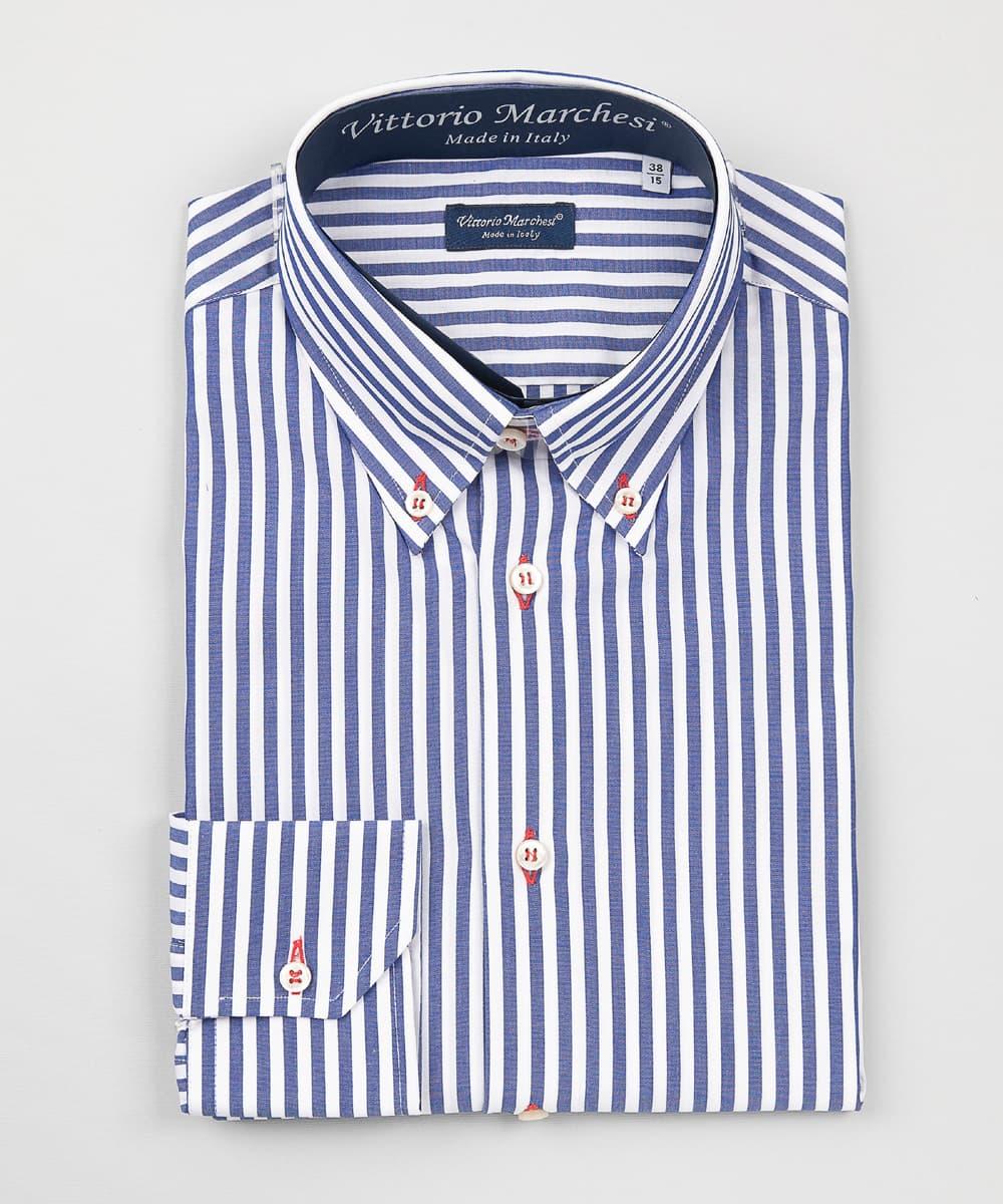 Button Down Shirt Dark Blue Striped Poplin – Red Details