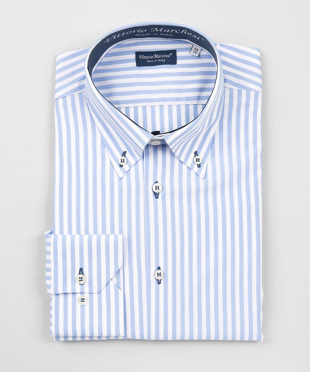 Button Down Light Blue Striped Poplin Shirt – Dark Blue Details