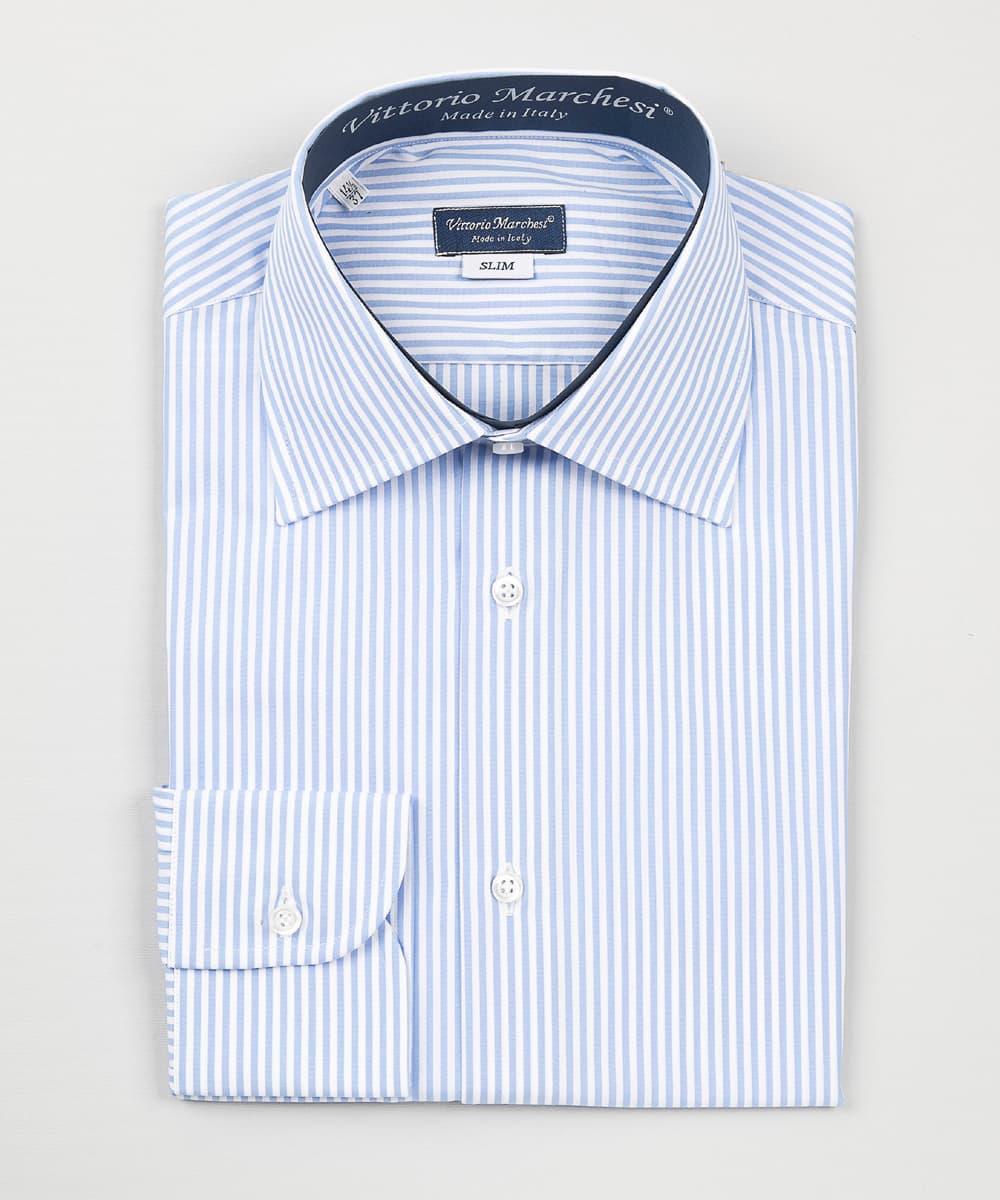 French Collar Light Blue Striped Poplin Shirt