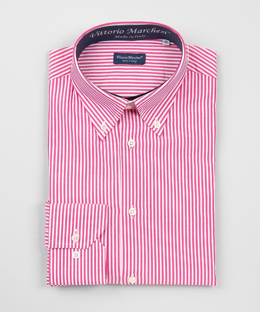 Button Down Fuchsia Striped Poplin Shirt