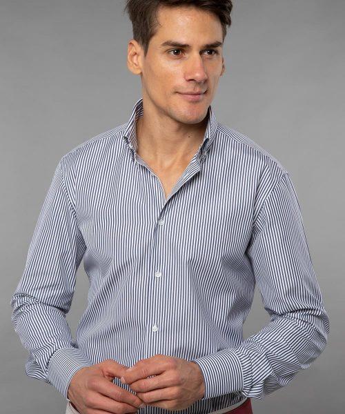 Button Down Dark Blue Striped Poplin Shirt