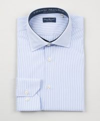 French Collar Light Blue Thin Stripes Poplin Shirt