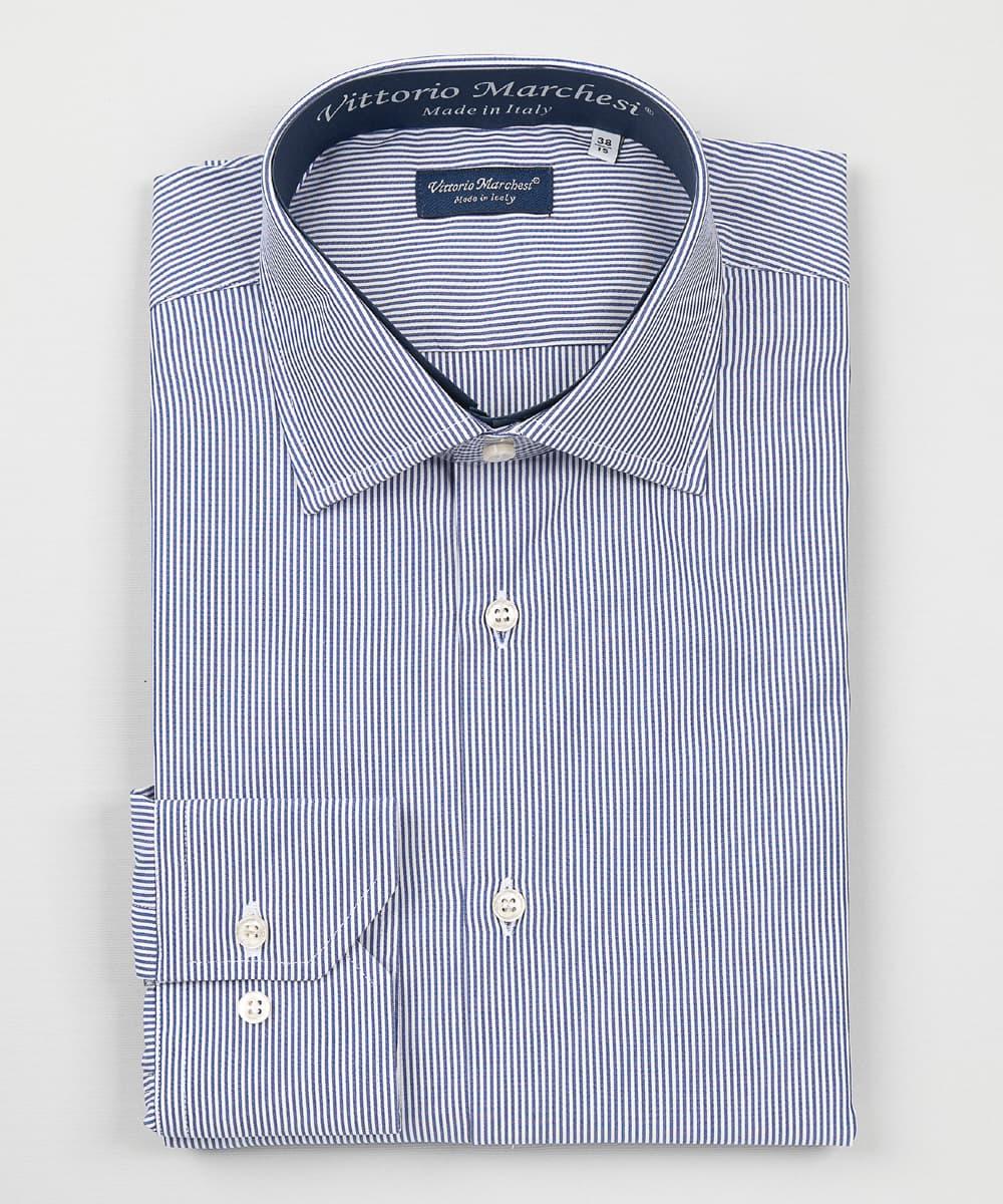 French Collar Dark Blue Thin Stripes Poplin Shirt
