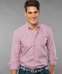 Button Down Red Thin Stripes Poplin Shirt