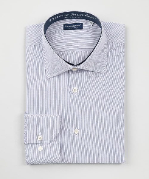 French Collar Dark Blue Thousand Stripes Poplin Shirt