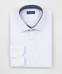 French Collar Light Blue Thousand Stripes Poplin Shirt