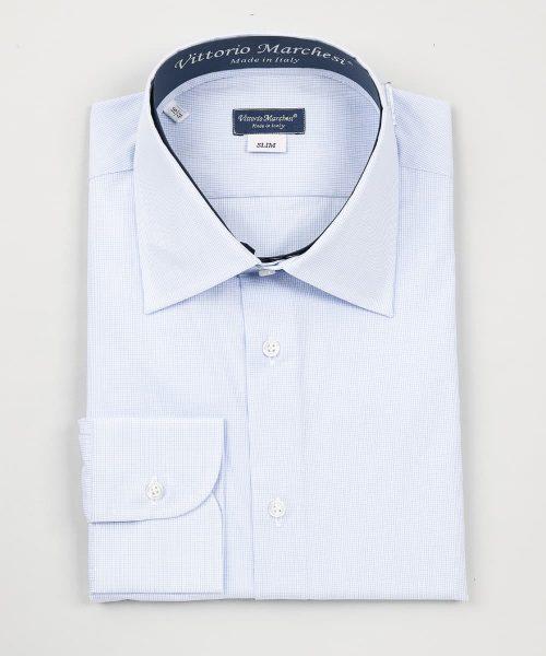 French Collar Light Blue Checks Poplin Shirt