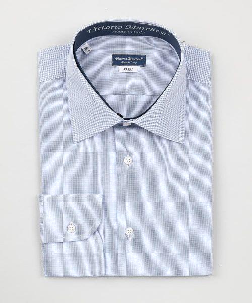 French Collar Dark Blue Checks Poplin Shirt