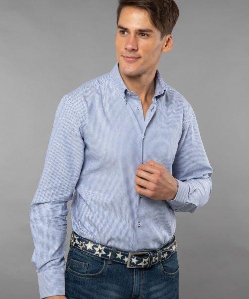 Button down poplin shirt Micro Print – Dark Blue Details