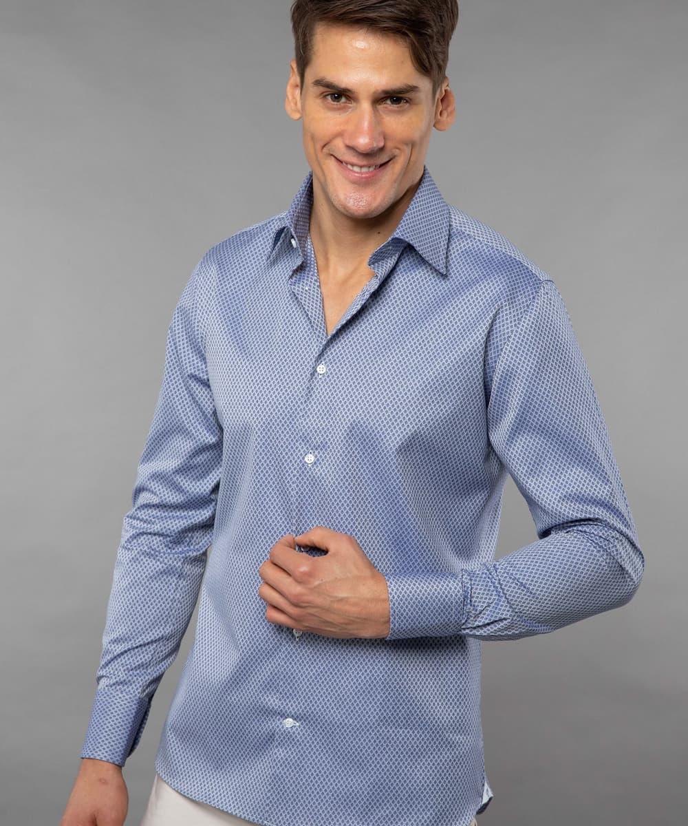 French Collar Blue Printed Blocks Shirt