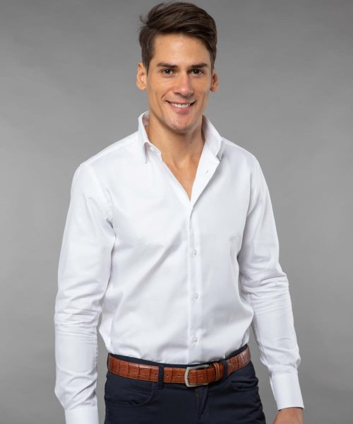 French Collar Shirt White Oxford