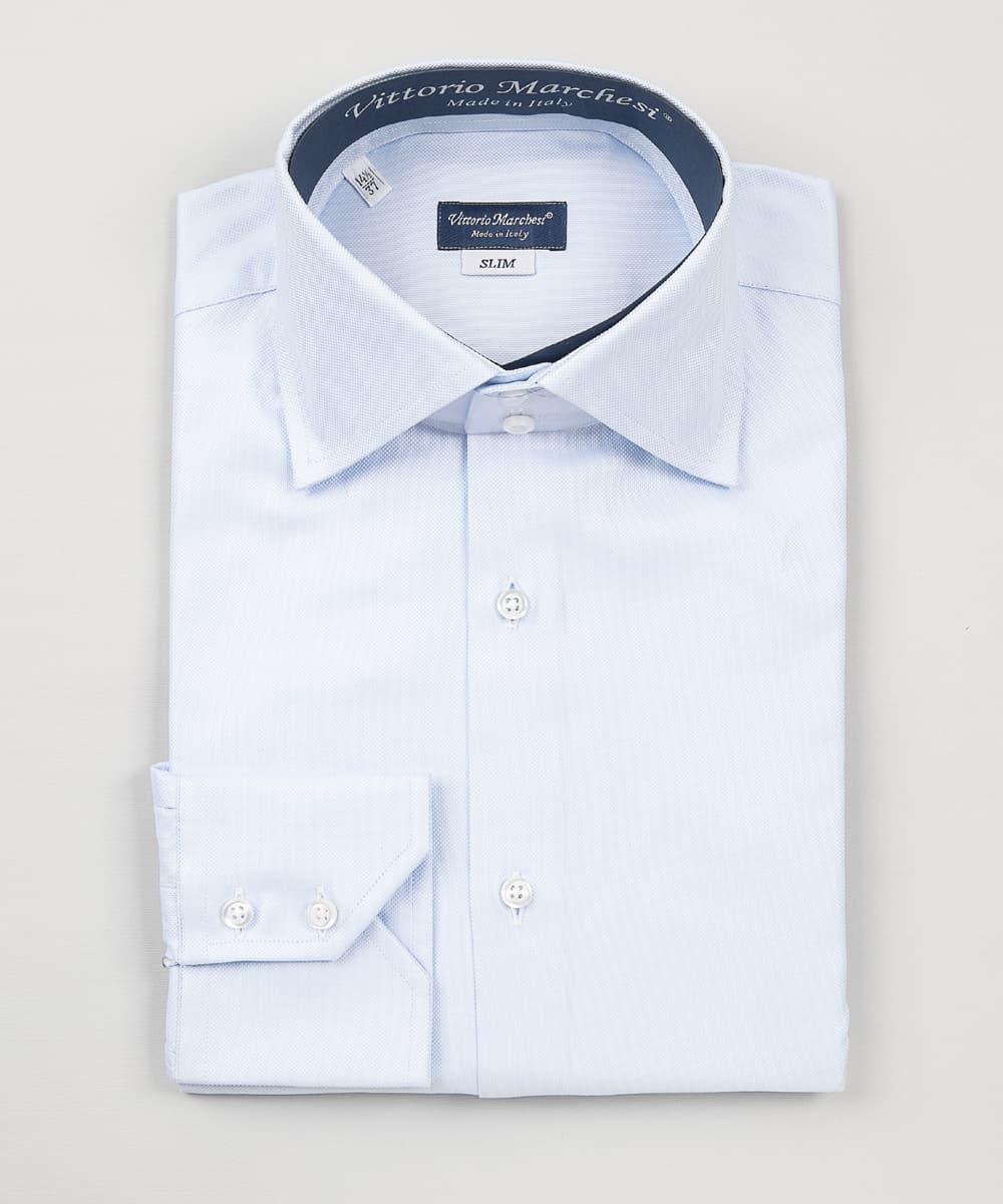 high-neck light blue oxford shirt