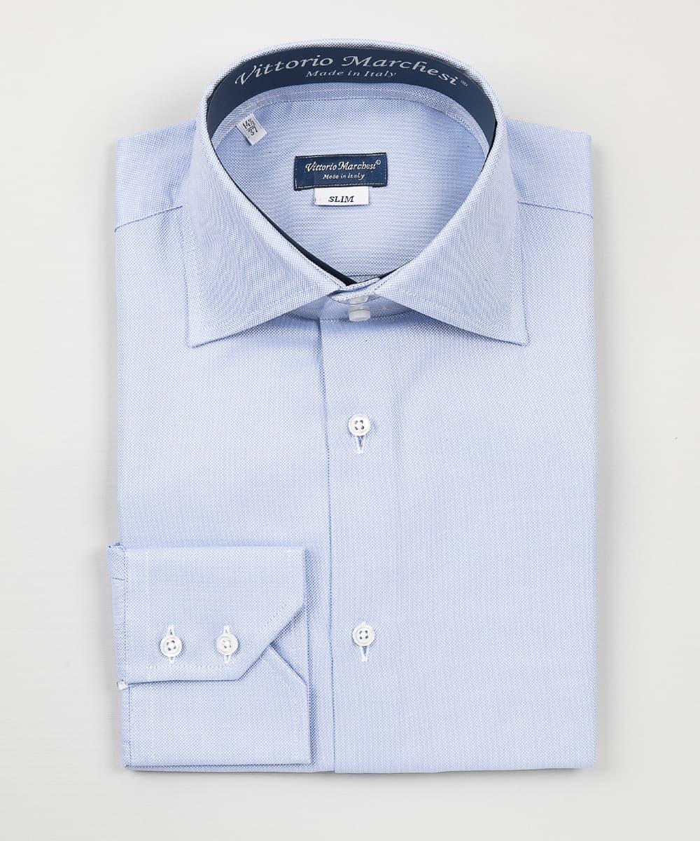 high-neck blue oxford shirt Vittorio Marchesi