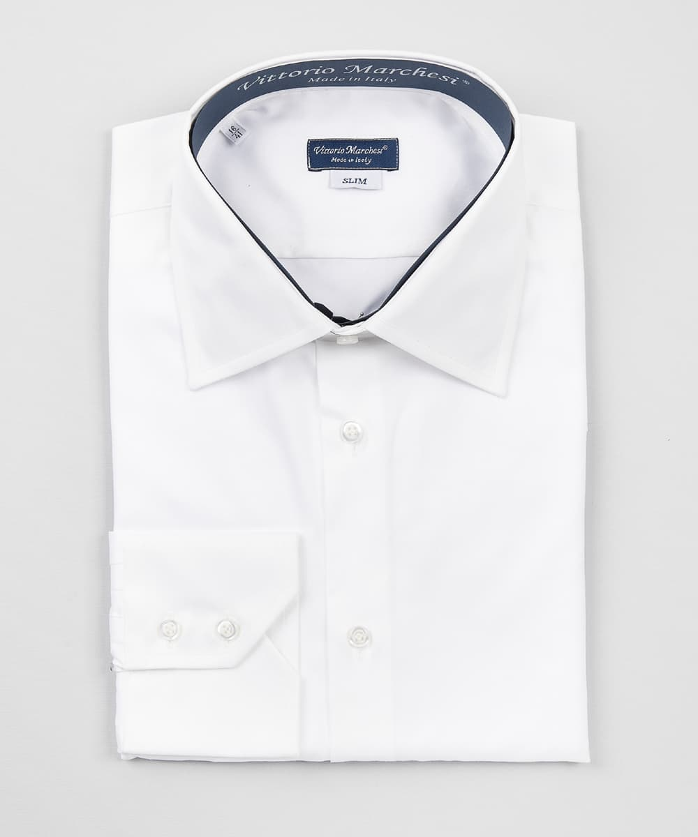 French Collar White Twill Shirt Vittorio Marchesi