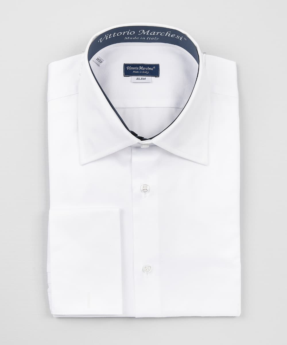 French Collar White Twill Double Cuff Shirt Vittorio Marchesi