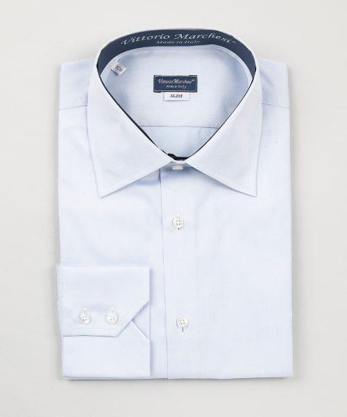 French Collar Light Blue Twill Shirt Vittorio Marchesi