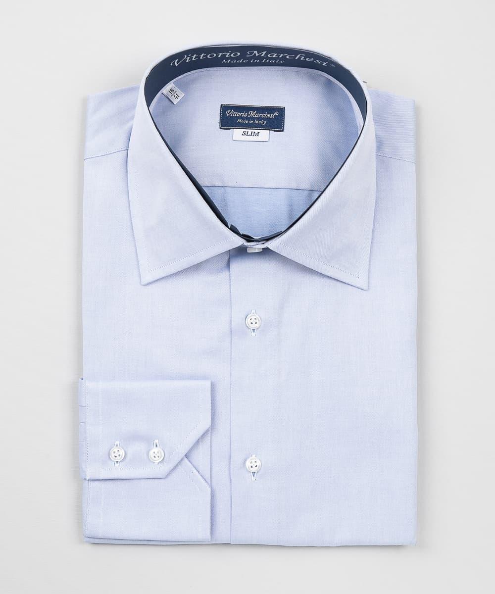 High-End Shirt French Collar Blue Twill Vittorio Marchesi