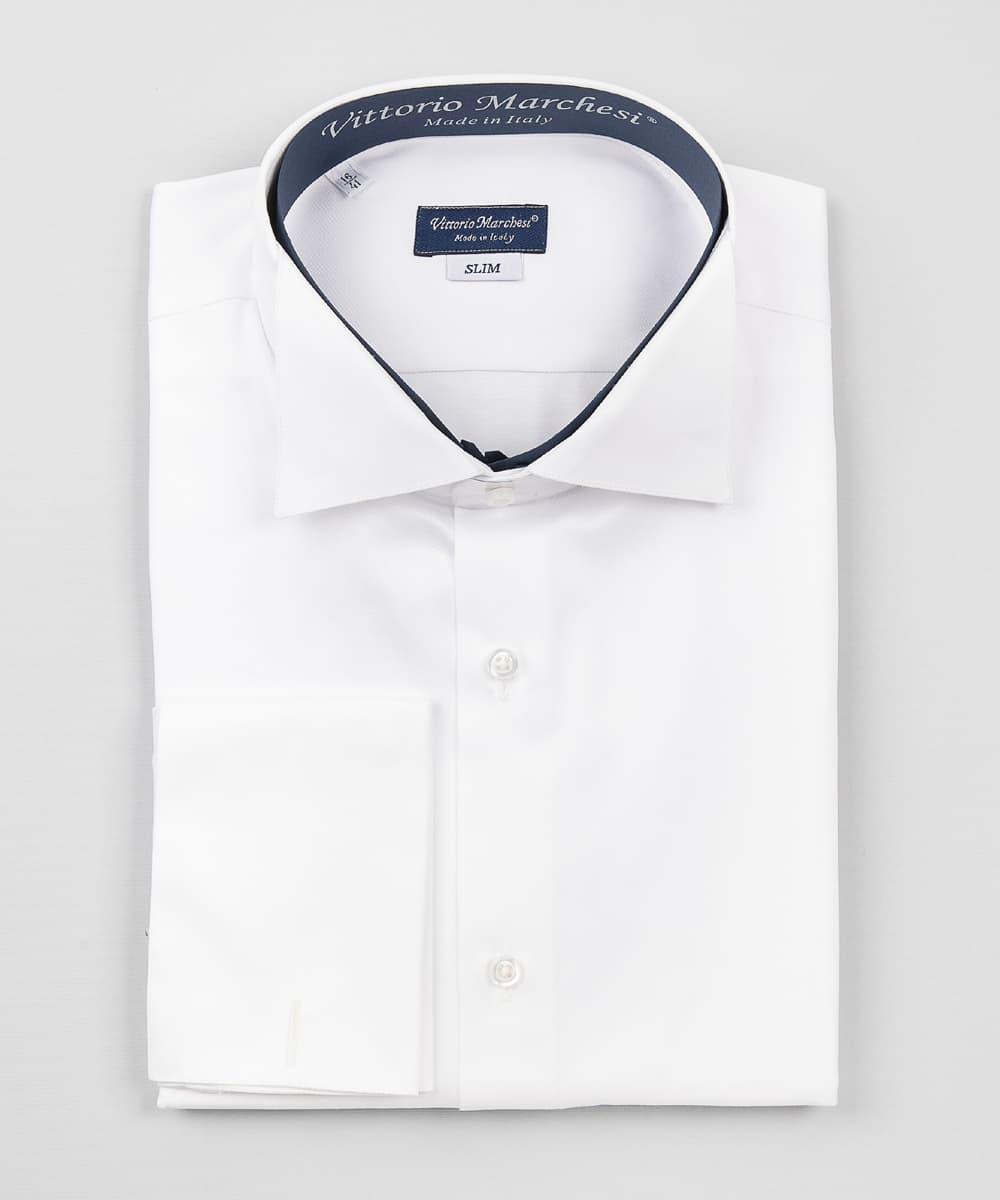 Smoking Collar Shirt White Twill Double Cuff