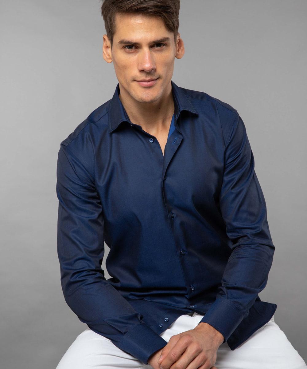 227 French Collar Shirt Dark Blue Twill