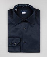 High-End Shirt French Collar dark Blue Twill Vittorio Marchesi