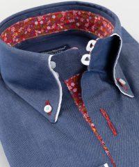 Button Down Shirt Blue Twill Flowers Vittorio Marchesi