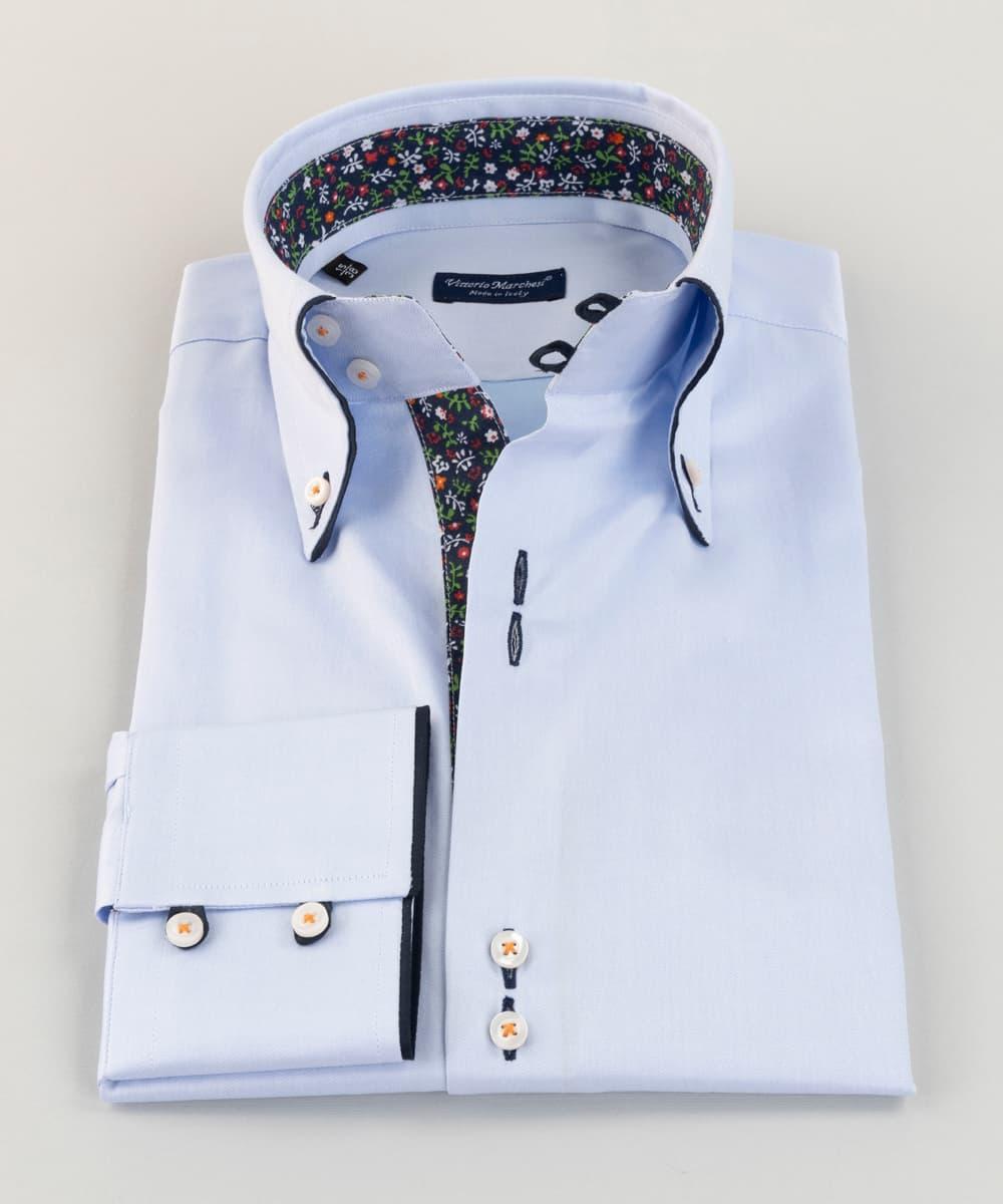 Button Down Shirt Light Blue Twill Flowers Vittorio Marchesi