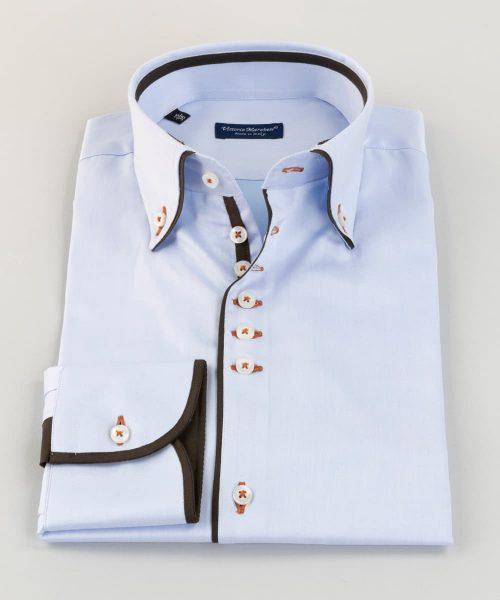 Button Down Shirt Light Blue Twill Piping Vittorio Marchesi