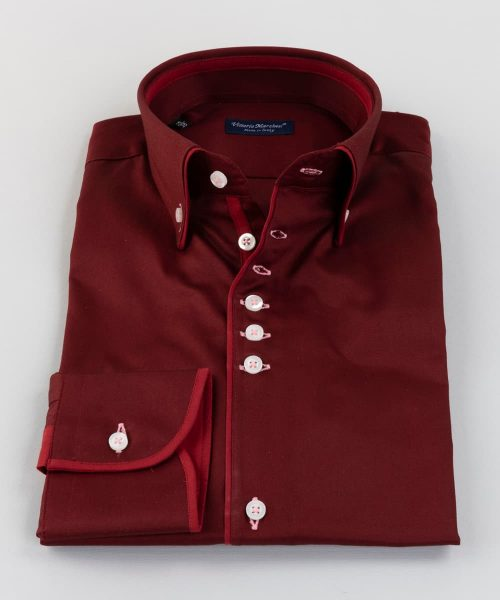 Button Down Shirt Red Twill Piping Vittorio Marchesi