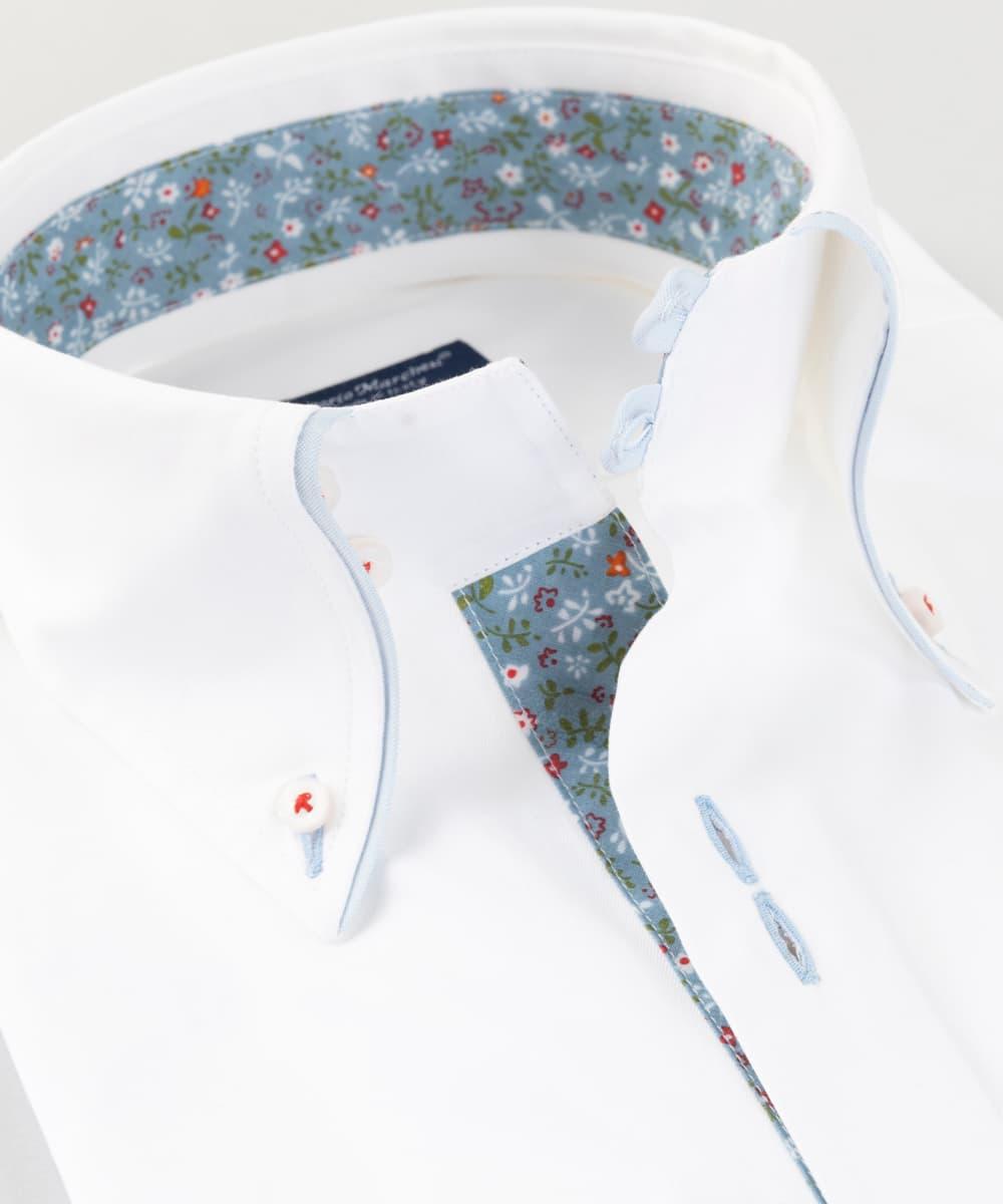 Button Down Shirt White Twill Flowers Vittorio Marchesi