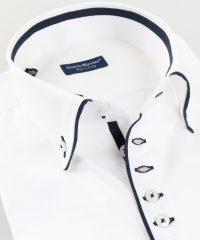 Button Down Shirt White Twill Piping Vittorio Marchesi