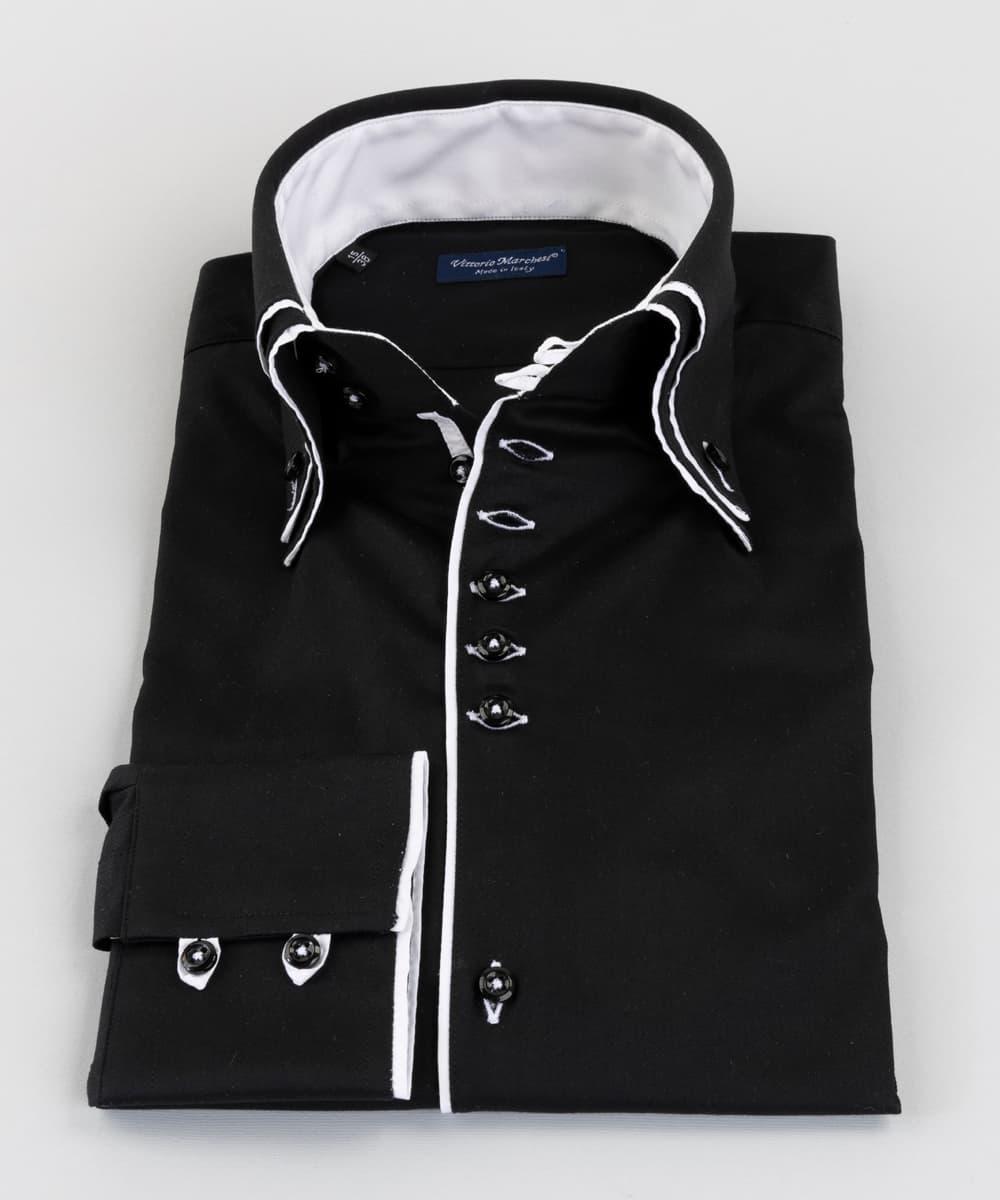 Double Collar Shirt Black Twill White Loops Vittorio Marchesi