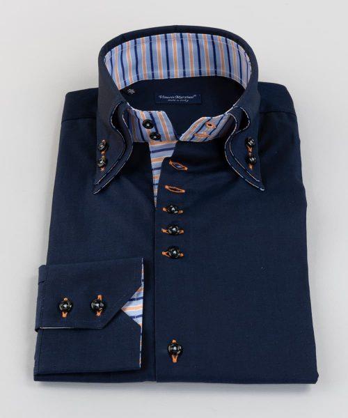 Double Collar Shirt Dark Blue Twill Vittorio Marchesi