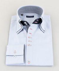 Double Collar Shirt Light Blue Oxford Vittorio Marchesi