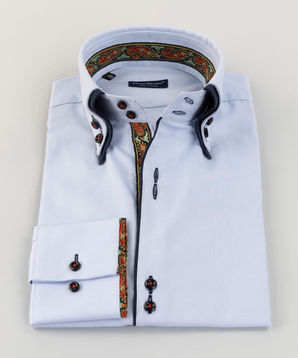 Double Collar Shirt Light Blue Oxford Cachemire Vittorio Marchesi