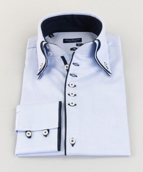 Double Collar Shirt Light Blue Twill Blue Loops Vittorio Marchesi