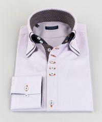 Double Collar Shirt Lilac Oxford Vittorio Marchesi
