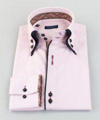 Double Collar Shirt Lilac Oxford Cachemire Vittorio Marchesi