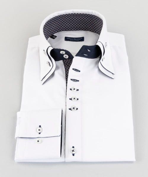 Double Collar Shirt White Oxford Vittorio Marchesi