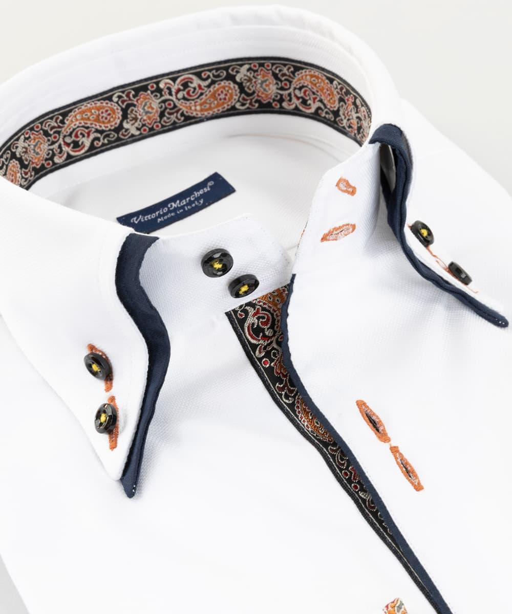 Double Collar Shirt White Oxford Cachemire Vittorio Marchesi