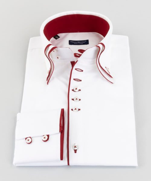 Double Collar Shirt White Twill Red Loops Vittorio Marchesi