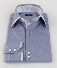 French Collar Shirt Blue Oxford Hem Vittorio Marchesi