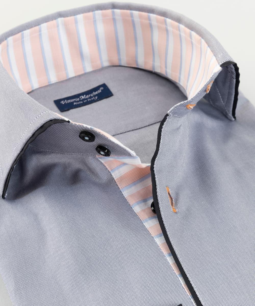 French Collar Shirt Grey Oxford Piping Vittorio Marchesi