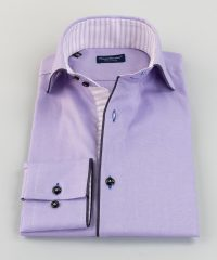 French Collar Shirt Lilac Oxford Piping Vittorio Marchesi
